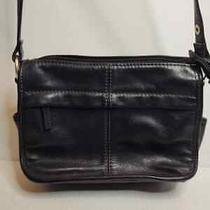 Fossil Black Leather Crossbody Shoulder Bag With Zippered Wallet Compartment Photo