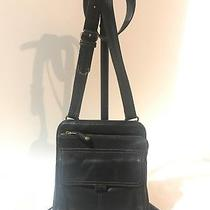 Fossil Black Leather  Crossbody Travel Messenger Bag Purse Preowned Photo