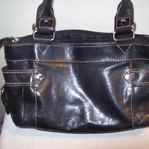 Fossil Black Leather E/w Shopper Bag End Pockets Photo
