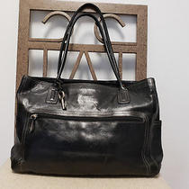 Fossil Black Leather Executive Business Tote Bag Laptop Briefcase Photo