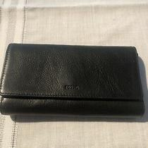Fossil Black Leather Flap Clutch Wallet Beauty Guc Photo