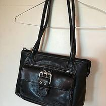 Fossil Black Leather Handbag Vintage Small Embossed Shoulder Bag Purse Photo