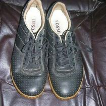 Fossil Black Leather Lace Up Athletic Shoes Sz 7 Style  1108 Photo