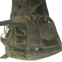 Fossil Black Leather Laptop Bag Messenger Briefcase 12x12