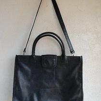 Fossil Black Leather Large Briefcase-Computer Handbag Purse Bag Tote 75082 Photo