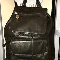 Fossil Black Leather Large Designer Backpack Handbag  Photo
