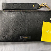 Fossil Black Leather Liv Wristlet / Clutch With Detachable Strap Photo