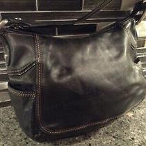 Fossil Black Leather Medium Purse Hand Bag Shoulder Bag New Photo