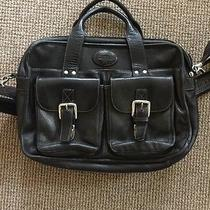 Fossil Black Leather Messenger Bag Soft Thick Beautiful Laptop Padding Pockets Photo