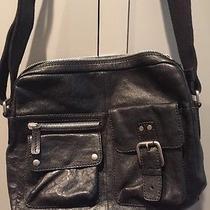 Fossil Black Leather Messenger Crossbody Bag Laptop Bag Euc Photo