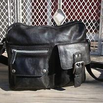 Fossil Black Leather Messenger Crossbody Handbag Biker Hobo Laptop Tote Large Photo