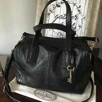 Fossil Black Leather Messenger Crossbody Long Strap Bag Euc Photo