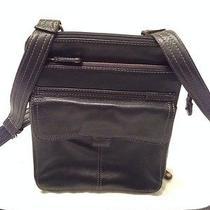 Fossil Black Leather Messenger Shoulder Bag W/ Front Pocket & 2 Zipper Pockets Photo