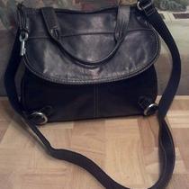 Fossil Black Leather/microfiber Flap Crossbody Bag Photo
