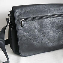 Fossil Black Leather & Microfiber Messenger Organizer Bag Photo