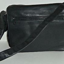 Fossil Black Leather Organizer Offoce Computer Bag Uni-Sex Photo