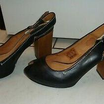 Fossil Black Leather Peep Toe Slingback Shoes Pumps Block Heels Women Size 8.5 M Photo