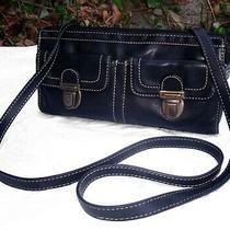 Fossil Black Leather Pocket Crossbody Organizer Bag Built in Wallet Travel Photo