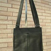 Fossil Black Leather & Polyester Fabric Trim Slim Shoulder Bag Purse Photo