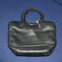 Fossil Black Leather Purse W/ Braided Round Handles Handbag  Photo