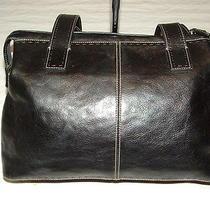 Fossil Black Leather Shoulder Bag Bucket Hand Bag Purse Large Photo