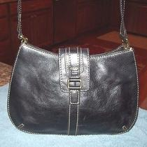 Fossil Black Leather Shoulder Bag Handbag Purse Photo