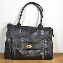 Fossil Black Leather Shoulder Bag / Large Purse Photo