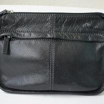 Fossil Black Leather Shoulder Bag Organizer Purse Vintage Rare Euc  Photo