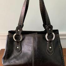 Fossil Black Leather Shoulder Bag Silver Rings Photo