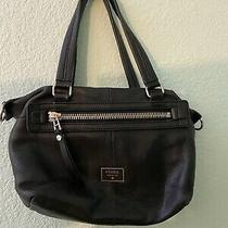 Fossil Black Leather Shoulder Bag Tote Handbag  Photo