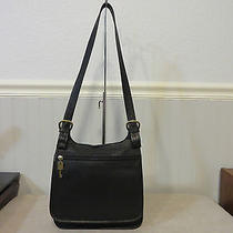 Fossil Black Leather Shoulder Saddle Bag Organizer Purse Vintage Computer Bag  Photo