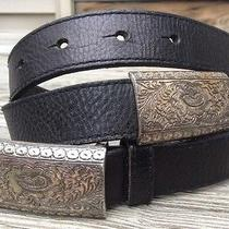 Fossil Black Leather Silver-Tone Concho Belt Women's Size Medium Bt235500102 Photo