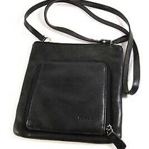 Fossil Black Leather Small Vntg Crossbody Purse Handbag Bag W/ Built in Wallet Photo