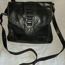 Fossil Black Leather Stitch Flap Crossbody Shoulder Bag W/ Buckle Detail Zb2722 Photo