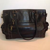 Fossil Black Leather Tote Laptop Bag Large  Excellent Condition Photo