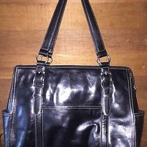 Fossil Black Leather Tote Laptop Briefcase Large Photo