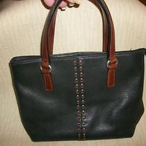 Fossil Black Leather Tote Style/purse With 3 Compartments Free Shipping Photo