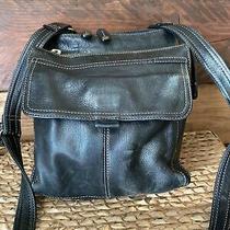 Fossil Black Leather Travel Crossbody Organizer Zb 8944 Handbag Purse Photo