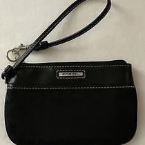 Fossil Black Leather Trim Clutch Wristlet Wallet Photo