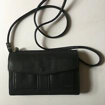 Fossil Black Leather Wallet Bag/purse Crossbody Clutch Check Book Vintage Photo