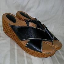 Fossil Black Leather Wedge Heel Sandals Womens(women's)sandals Size 7.5 Fossil Photo