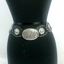 Fossil Black Leather Western Style Belt  Size Small Gorgeous W/free Shipping Photo