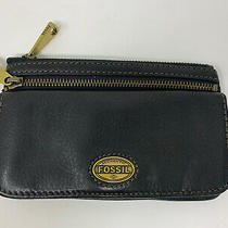 Fossil Black Leather Womens Wallet Clutch/ Two Zipper Pockets Photo