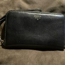 Fossil Black Leather Zip Around Wallet Wristlet Purse Womens Designer Billfold Photo