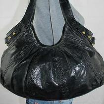 Fossil Black Medium Leather Shoulder Hobo Tote Satchel Slouch Purse Bag Photo