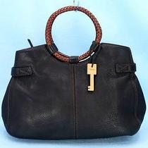 Fossil Black Pebble Leather Satchel Hand Bag Purse Braided Ring Handle 198 Exc Photo