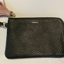 Fossil Black Pebble Leather Tara Wristlet Wallet With Pink Suede Tassel Photo