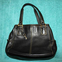 Fossil Black Pebble Leather Tote Style Handbag Photo