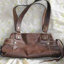 Fossil Black Pebbled Grain Leather Tan Stitching Shoulder Bag Euc Photo