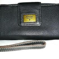 Fossil Black Pebbled Leather Bifold Wallet Wristlet With a Key and Leather Strap Photo